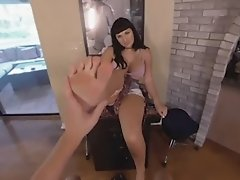 Bailey makes a hard dick explode with cum all over her feet after a good cock sucking