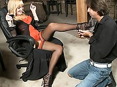 Seductive transsexual Olivia Love gets her foot treated right