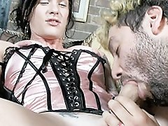 Transsexual hottie Morgan Bailey enjoying a young stud