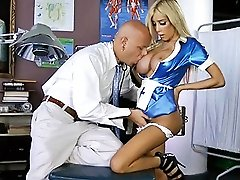 Horny nurse Kimber getting banged by the doctor