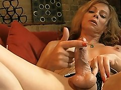 Horny TS Jasmine Jewels playing with her hard cock
