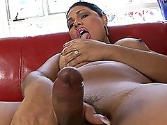 Horny tgirl playing with her juicy dick