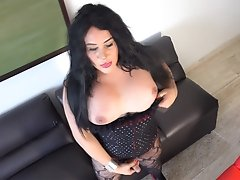 Huge Tits Tranny SINA LATINA in a lace bodysuit